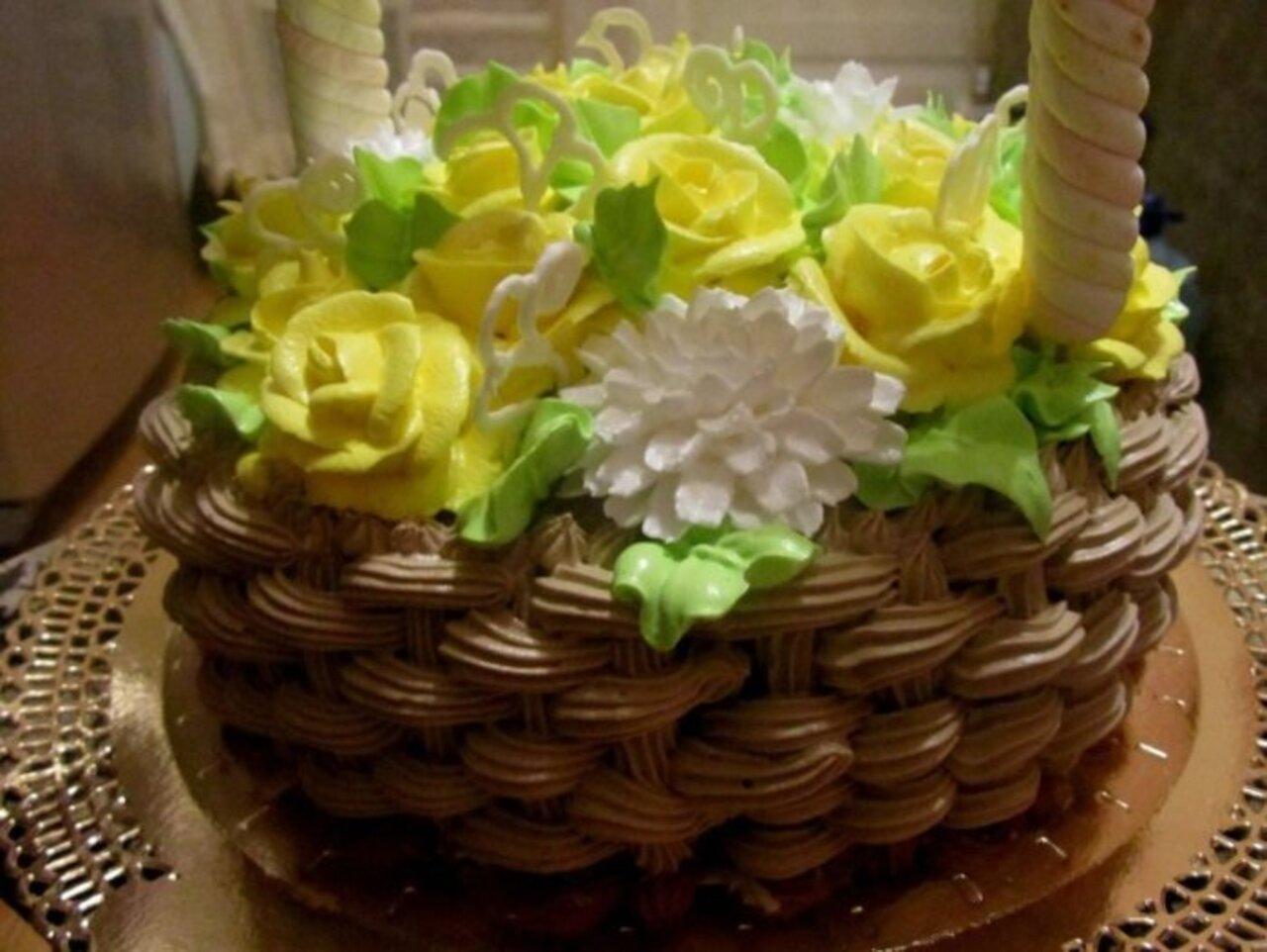 желаю кремовый торт корзинка с цветами картинки вам