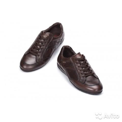 Размер: 43     Линия London Цвет коричневый. Очень мягкие и удобные кожаные спортивные туфли Обработаны влагозащитными и противозагрязняющими составами (scotchgard) Термоформующаяся съемная стелька Внутренняя подкладка 75% кожа, 25% текстиль  Модель 6760  Не подошли мужу.   Цена 5600