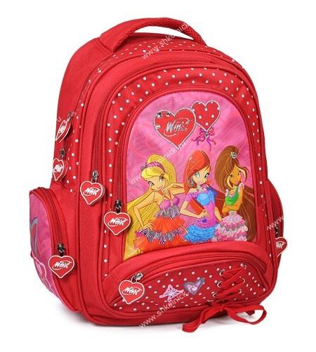 """Анюта выбрала себе такой рюкзак  Школьный рюкзак Winx Club """"My Fairy Diary"""" (арт.13BP2-WFD) по итогам ипользования - в конце марта оторвалась лямка. отмечу, что ребенок неактивный и аккуаратист. но учебников много, рюкзак тяжелый. качество не фонтан.  Сколько мы со Светиком не отговаривали от него, уперлась. Не действовало на нее то, что винксы уже не модные, что 2-3 года я не буду ей покупать другой. Пошлый. Нет, вцепилась. Пришлось купить. Плюсы: легкий, вместительный (2 спортивных костюма+мяч волейбольный+еще небольшой кулек вещей с покупками типа носочков-футболок влезло и еще место было), много кармашков. Аня в восторге! А у меня одной задачей меньше."""