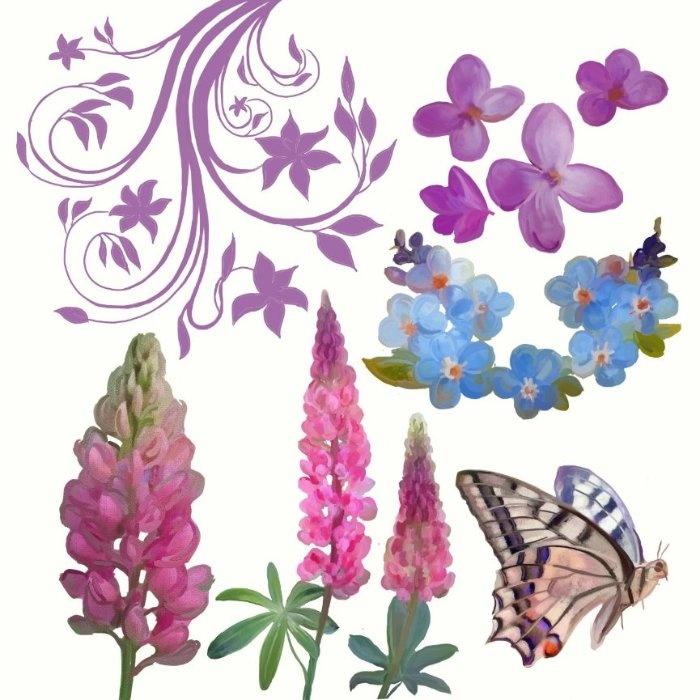 Цветы и орнамент. Нарисованы в ArtRage мной.