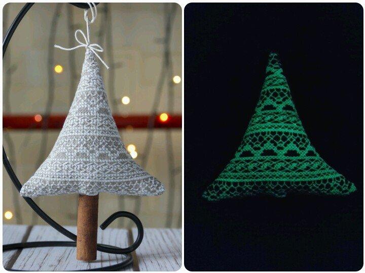 Автор: Розабельверде, Фотозал: Мое хобби, Кружевная елка вышита светящимися нитками.