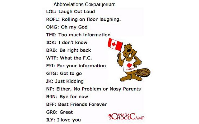 Сленг современных канадских подростков в 2013 году