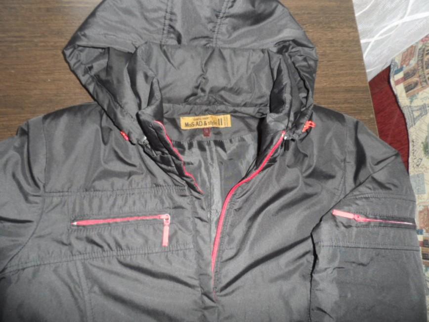 Пальто размер 44-46 осень с красными молниями длина 93 см. рукав - 65 см. цена 1500=