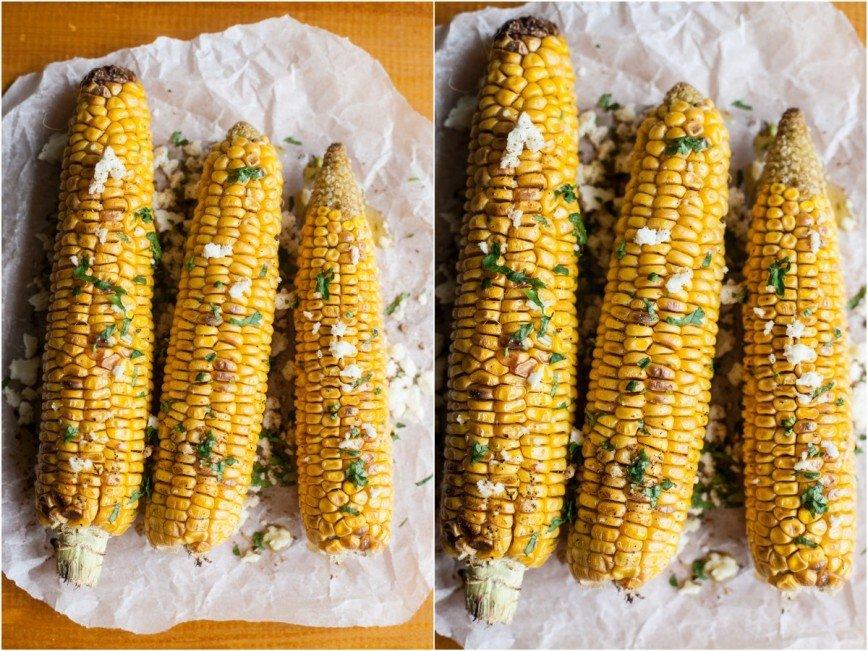 Кукуруза с кинзой и адыгейским сыром