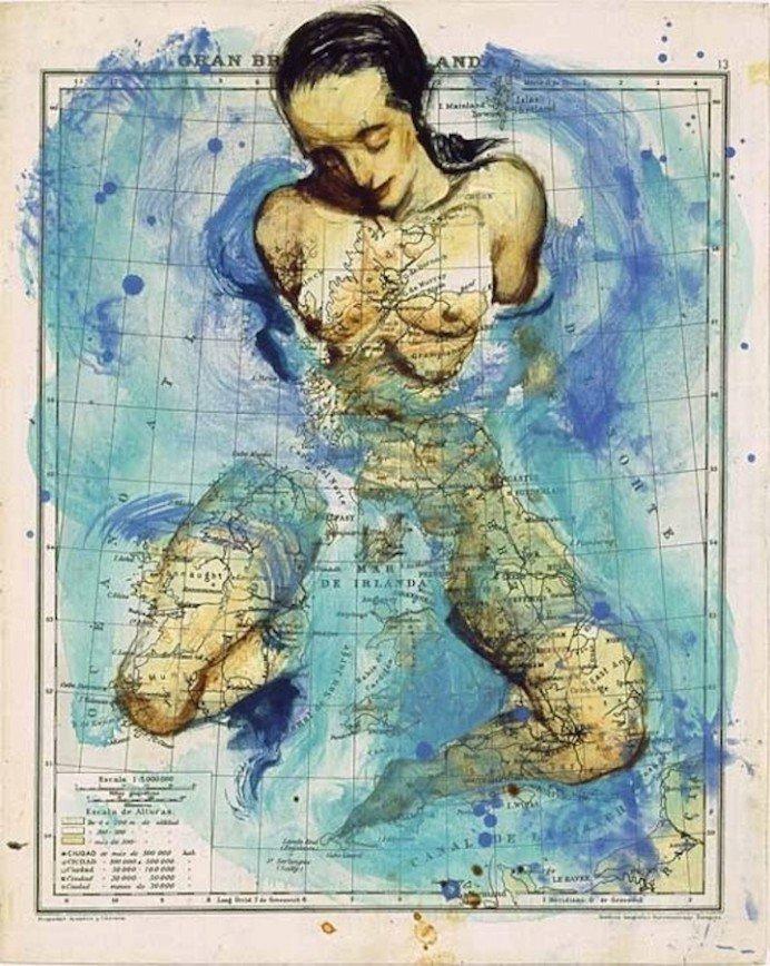 Материки и океаны в виде слонов, собак и прекрасных женщин