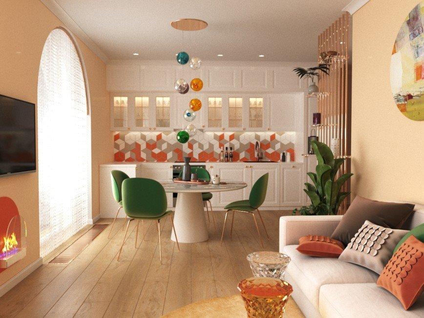 кухня-гостиная Дизайн интерьера. 8(916)516-81-45