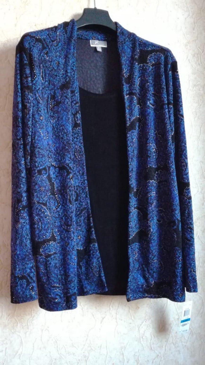 JM Collection. Новая кофта двойка без застежек, XL, т.синего цвета, 50acetate/45polyester/5spandex, длина по спине 72см. Цена 1300 руб.