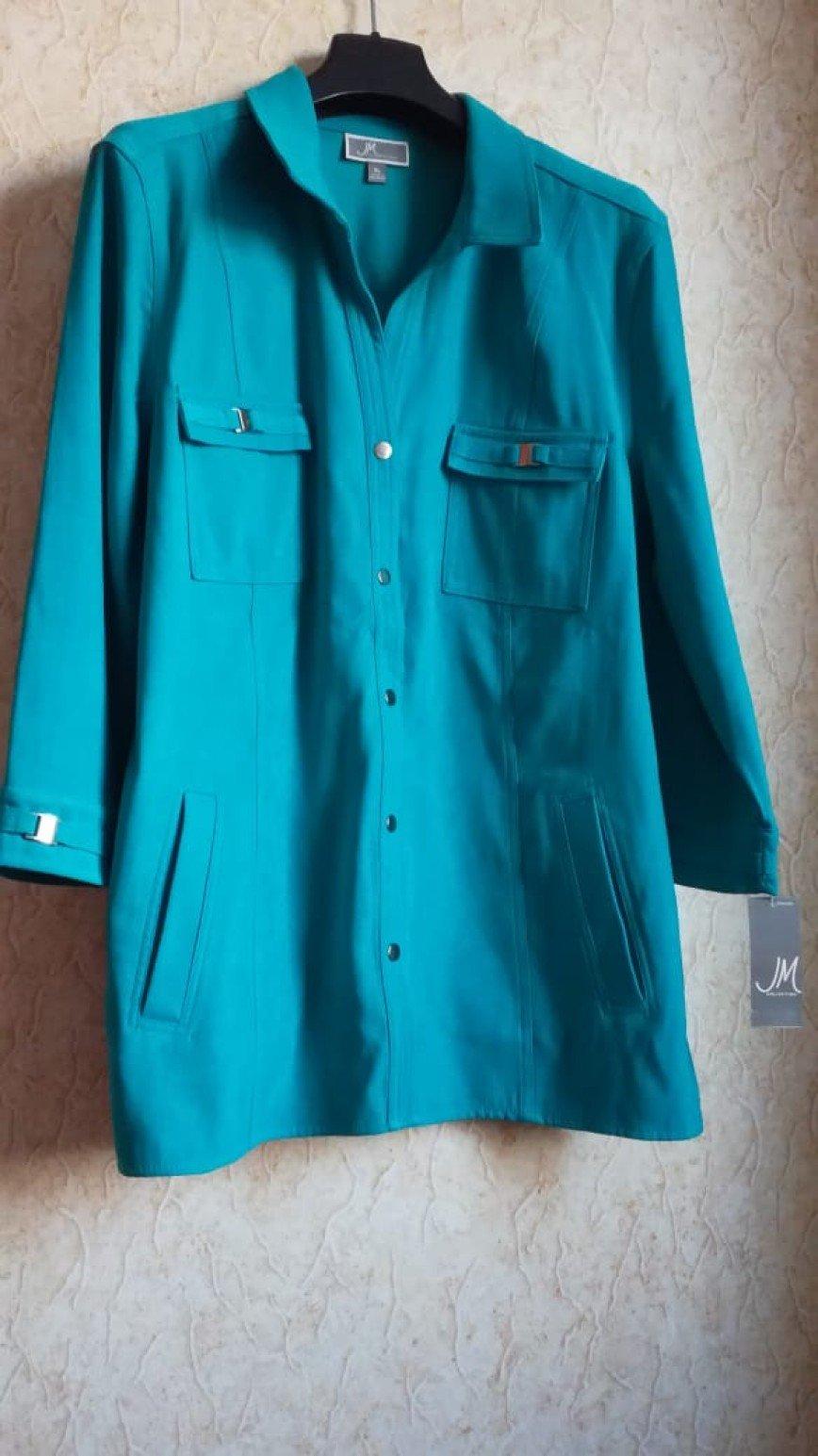 JM Collection. Новый кардиган XL на кнопках бирюзового цвета с 2-мя карманами на груди, 90polyester/10spandex, длина по спине 72см. Цена 1400 руб.