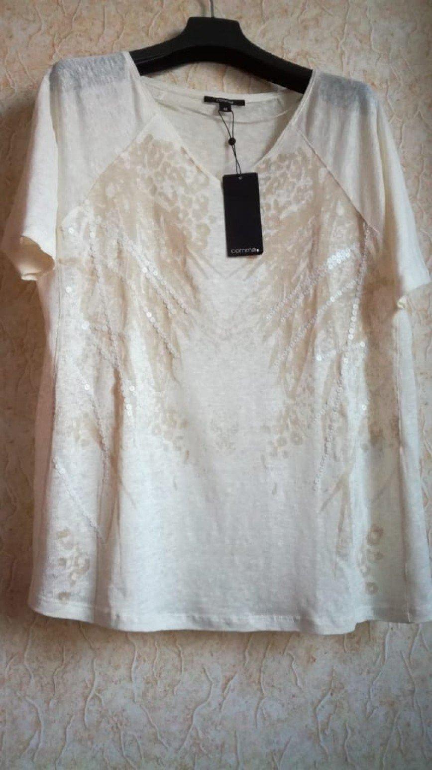 Новыя блузка Comma р.50 (маркировка 44), в тёплых бежевых тонах, украшена пайетками, 100%лён, made in Portugal. Цена 2000 руб.