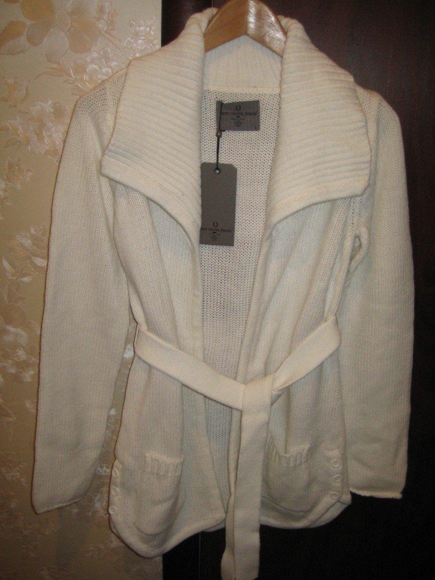 НОВЫЙ кардиган Vero Moda Jeans с поясом, без застежки, белого цвета, р.46, длина по спине 76см. Цена 1500 руб.