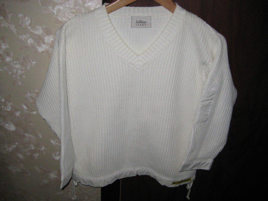 Белая кофта InWear Jeans, р.46 рукава и низ обшиты х/б тканью, 100% хлопок, длина по спине 55см. Цена 700 руб.