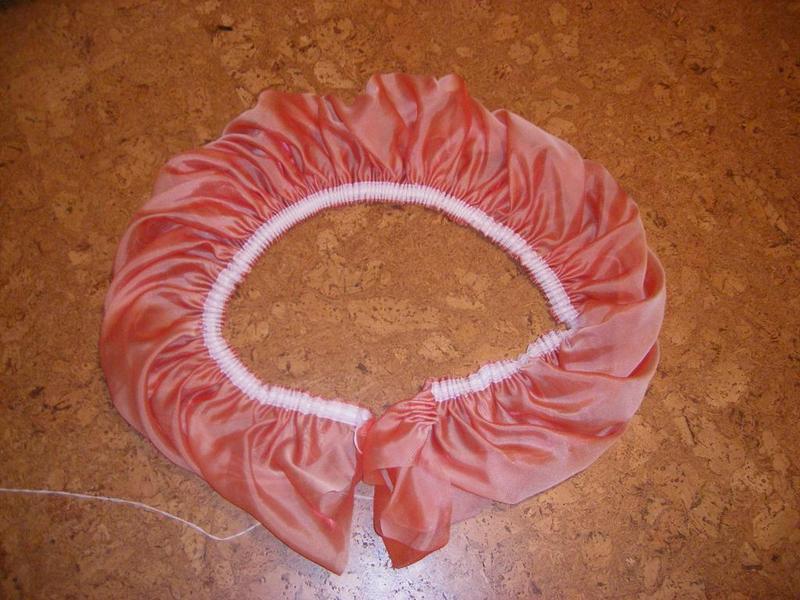 """Стягиваем ленту, получается вот такая """"юбка"""". Кстати, отличная идея для юбки или платья на маленькую девочку- выйдет очень оригинально и пышно :)  Сборка- примерно 2-2,5 раза."""