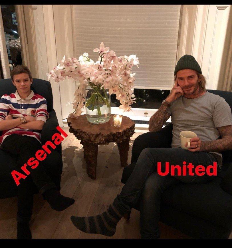 «Не подеритесь»: Дэвид Бекхэм с сыном болеют за разные футбольные клубы