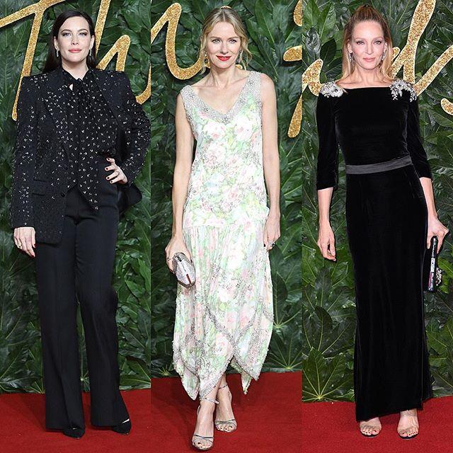 Кинодивы 90-х: Лив Тейлор, Наоми Уоттс и Ума Турман на British Fashion Awards 2018