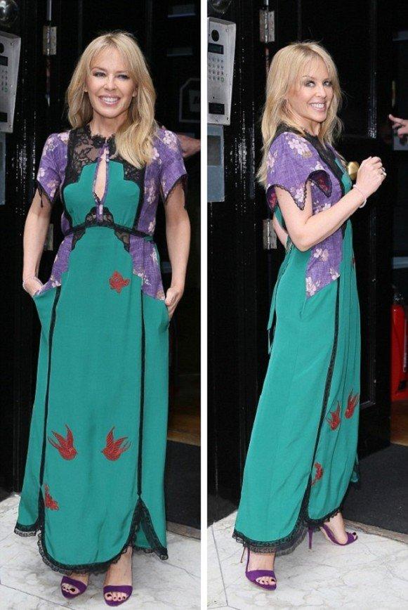 Кайли Миноуг прогулялась по Лондону в необычном платье