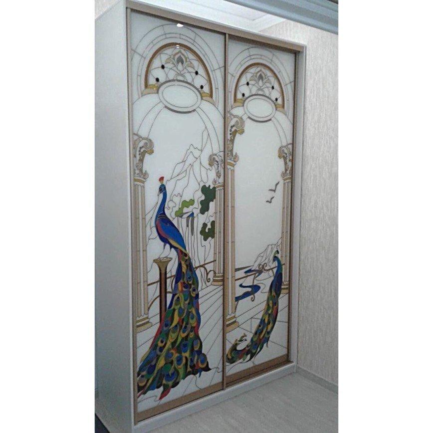 Автор: expressmebels, Фотозал: Мой дом, 83 Шкаф купе корпусный. Профиль Аристо. Вставки стекло Лакобель с полимерным витражом. Цена 105 тыс. руб.