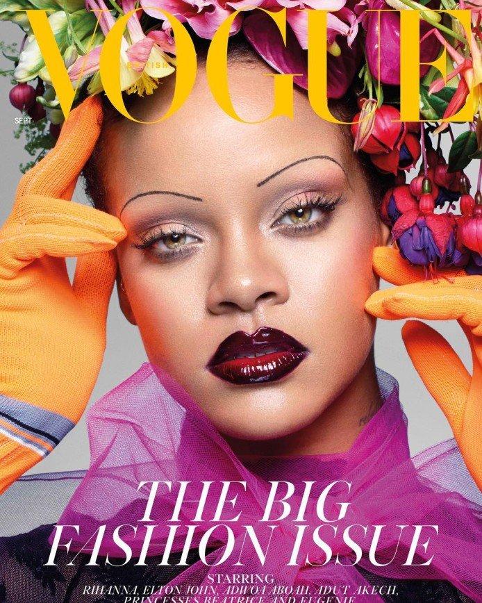 Голова в цветах и брови-ниточки: Рианна появилась на обложке Vogue