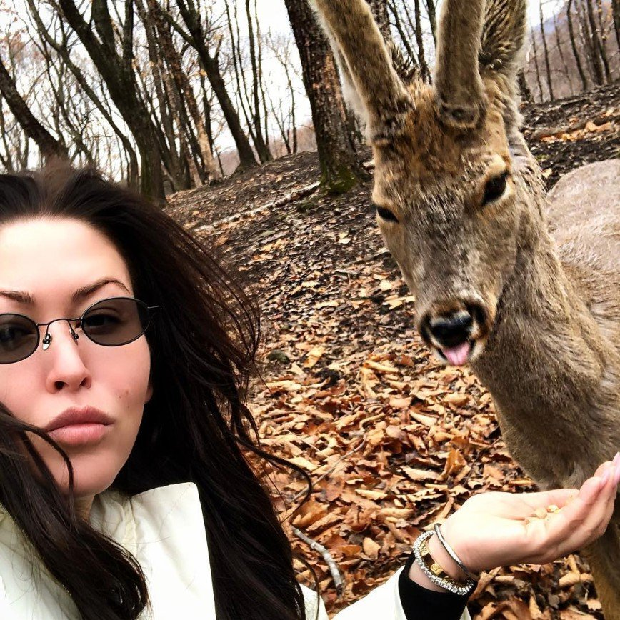 «Он точно настоящий?»: Ирина Дубцова покормила оленя с руки