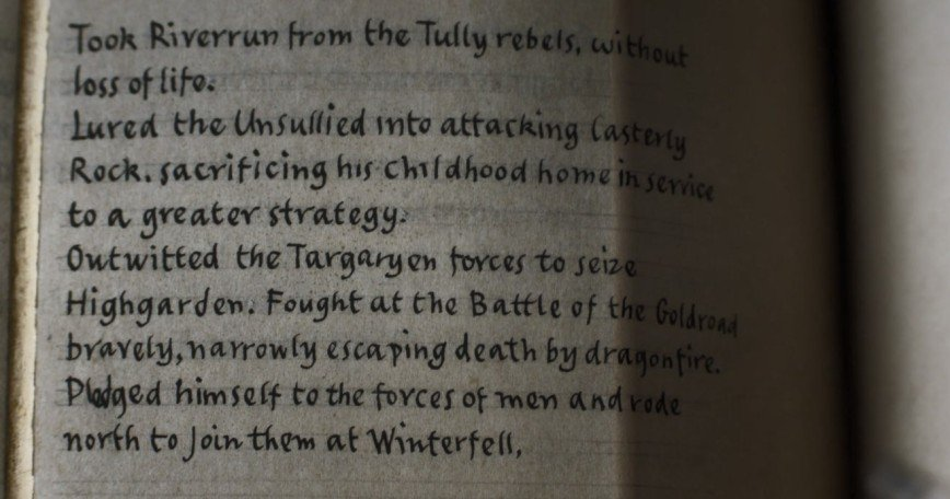Учим английский по Книге Братьев  — что написала Бриенна в последней серии «Игры престолов»