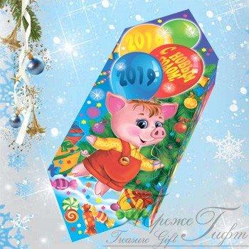 Новогодняя Конфетка Пятачок Вес 400 гр.,170 руб. Эта конфетка Пятачок символизирует о наступлении замечательного, весёлого и сказочного Нового года! В новогоднюю ночь сбываются мечты и Вы непременно попадете в сказку! Конфетка выполнена из качественного красочного картона и вмещает в себя 400 гр. вкуснейших конфет. 170 руб.