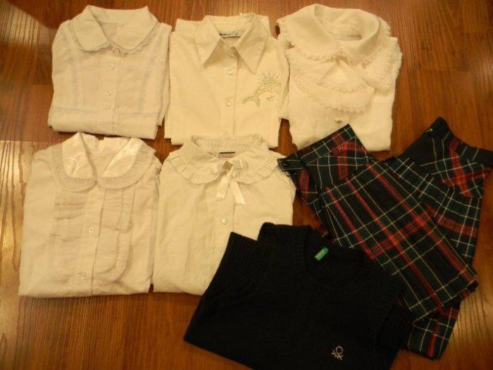 122-134 размер блузки и юбки-плессе,безрукавка Беннетон