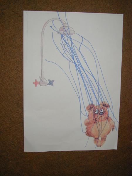 Медвежонок, якобы, стоит под душем, надо было нарисовать струи воды.