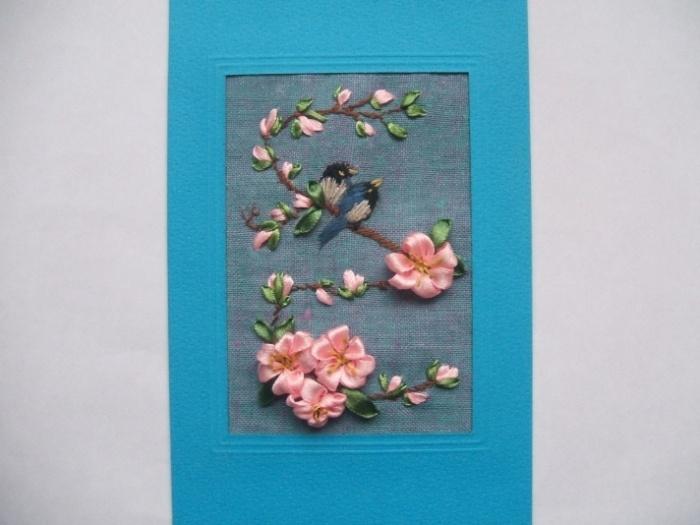 Картинки, открытки из атласных ленточек
