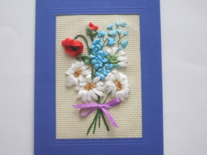 Открытки с цветами из лент своими руками