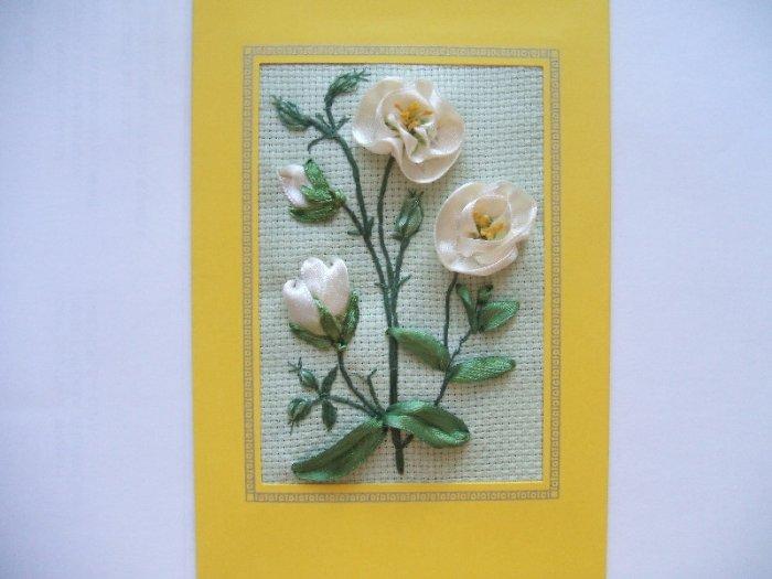 Открытки из атласных лент к 8 марта ромашки и розы, сделать