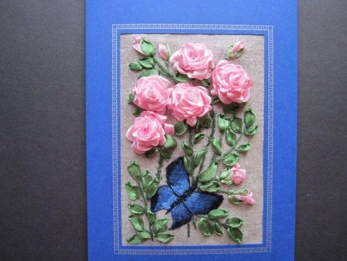 Малышом, открытка своими руками с розами из лент