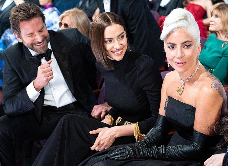 Ирина Шейк с бывшим мужем и Леди Гага на церемонии вручения «Оскара»