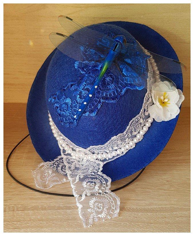 Шляпка Синей феи. Ручная работа