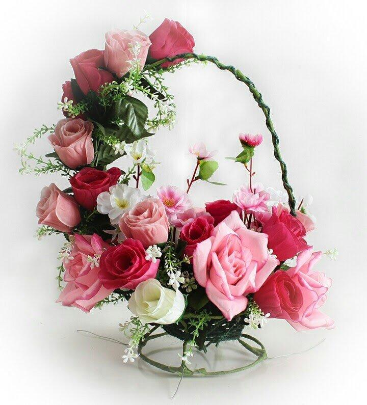 Автор: xPANTERAx, Фотозал: Мое хобби, Корзина с розами из искусственных цветов