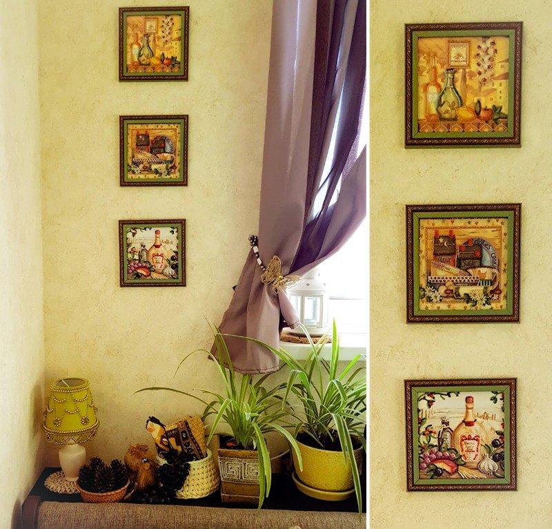 Картины вышитые бисером и светильник ручной работы нашли свое место на кухне