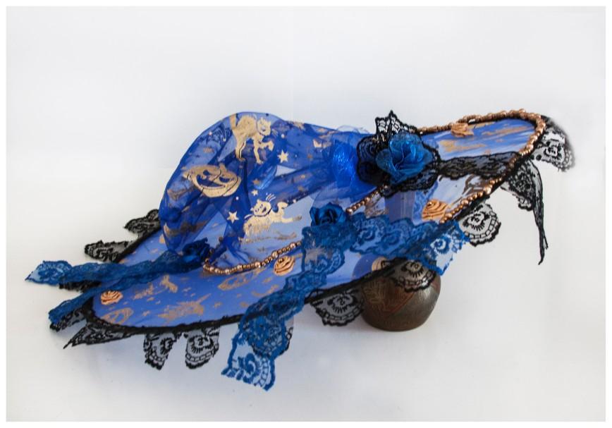 Автор: xPANTERAx, Фотозал: Мое хобби, Шляпа ведьмы или волшебницы. Ручная работа. Единичный экземпляр. Украшена розами из атласных лент и органзы, бусинами, кружевом синего и черного цвета. Станет прекрасным дополнением гардероба настоящей ведьмы или волшебницы, сделает ее самой неотразимой на празднике Хеллуин или Новый год. Диаметр шляпы (поля) 36 см.