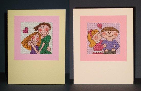 """Март, 2009 год мои две открытки для """"Обмена открытками"""". Главная идея - любовь и весна. Ткань - Аида 18, нитки - в основном DMC, цвета - подобраны на глаз.   Первая открытка сделана по схеме, найденной на китайском сайте. Результат мне нравится, но глаза-квадратики надо было мальчику заменить, сделать такими же, как у девочки.   Вторую вышивку сделала сама по картинке из интернета. Однако, это было непросто - старалась как можно точнее передать рисунок, поэтому вышло много полу- и четверть-крестиков. Но результат мне очень нравится."""