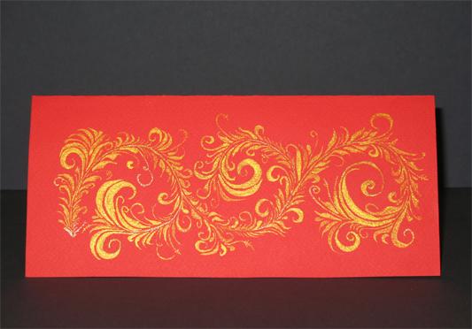 """Открытка на Рождество (католическое, которое 25-го декабря) для знакомых из Щвейцарии. Нарисовала сестра. Нужно было сделать что-то в """"русском"""" стиле, так вот это - """"хохлома золотом""""."""