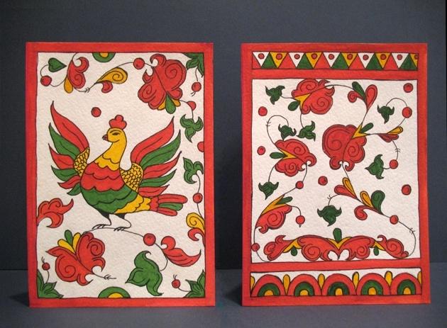 Еще открытки для швейцарцев. Тоже сестра рисовала. Это пермогорская роспись.
