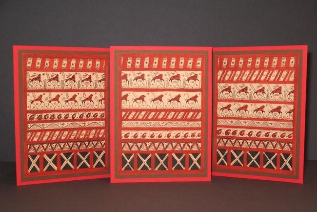 Рождественские открытки с моей любимой росписью - мезенской.