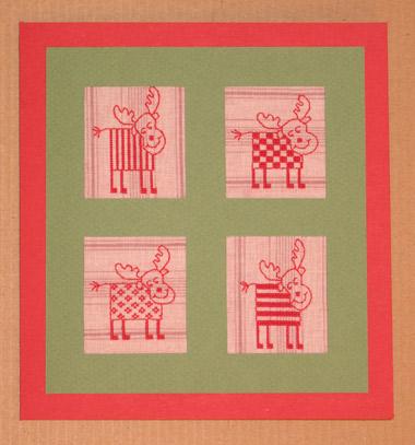 """Эта открытка для игры """"Обмен открытками"""". Кажется, адресату понравилось. Схемы лосей - из журнала Анна 10/2006."""
