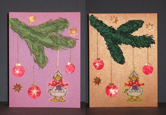 """[b]НГ 2009[/b] Последние две открытки. [br][br]Утята - это брелки (или елочные украшения, или что угодно - по вкусу новых владельцев). Их нужно просто открепить от бумаги и пользоваться. [br][br] Вышиты утята на пластиковой канве. С обратной стороны на клей """"Момент"""" приклеены кусочки разноцветных тряпок """"для пыли"""" - продаются в одной упаковке несколько штук, на вид и на ощупь ничем не отличаются от фетра, но стоят гораздо дешевле, найти проще и цвета яркие. Так что, утят вполне можно стирать."""