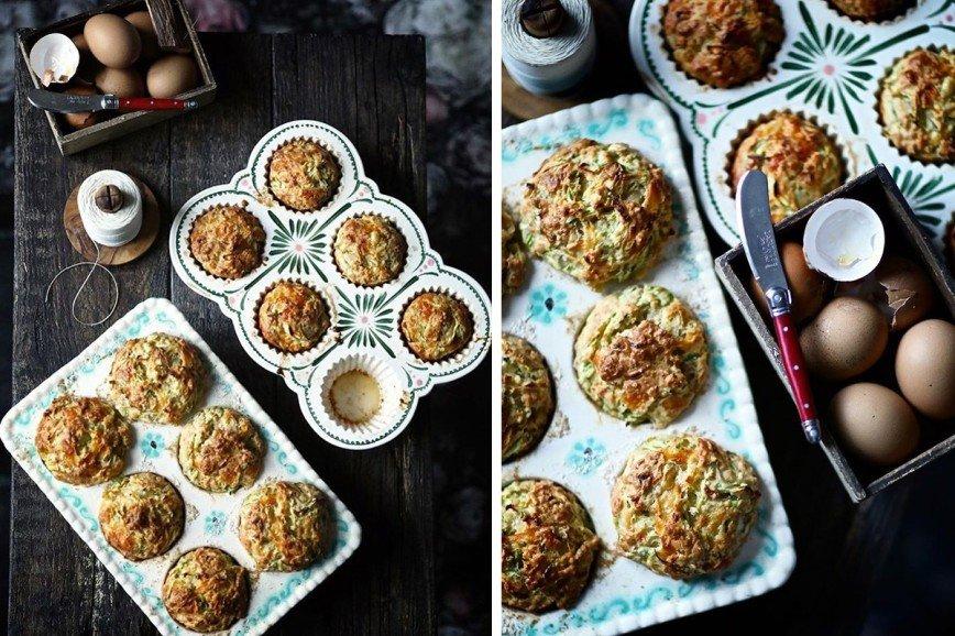 Закусочные маффины из кабачков с сыром и орехами