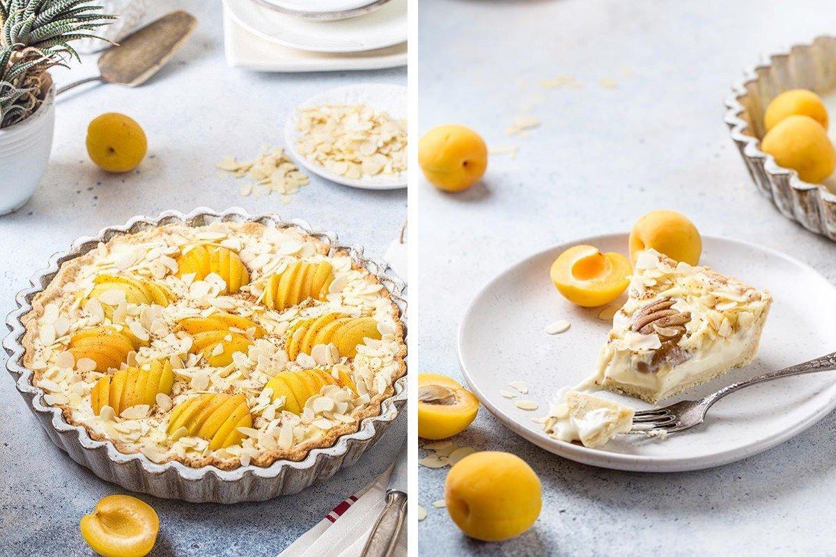 Выпечка выходного дня: песочный пирог с абрикосами, маскарпоне и миндальными лепестками