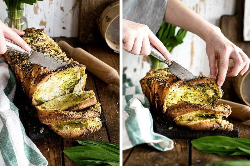 Весенняя выпечка: ароматная булка с зеленью, чесноком и сыром