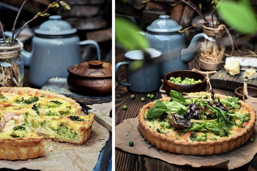 Открытый пирог с лососем, брокколи и зеленым горошком