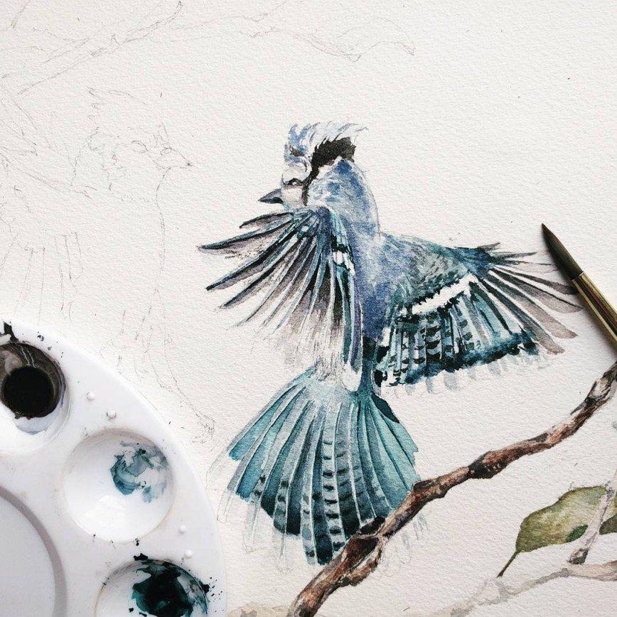 Акварельные фантазии самоучки: Девушка начала рисовать акварельными красками всего лишь полгода назад, купив самые простые материалы для творчества в обычном супермаркете. Теперь она