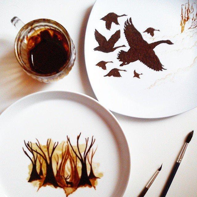 Кофейная живопись индонезийского художника