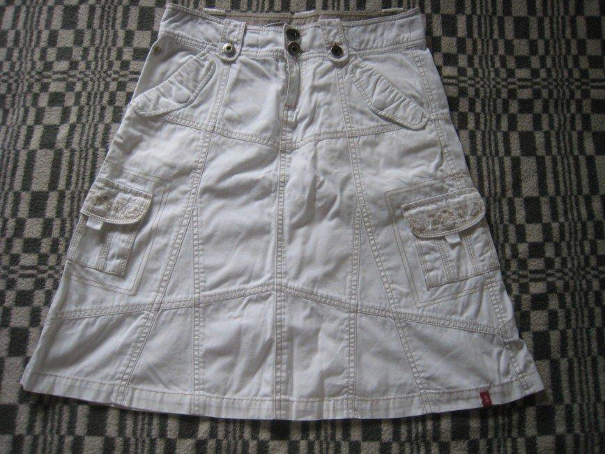 """Юбка белая """"под джинсу"""" Esprit маркировка 34 100% хлопок  длина 55см, ПОБ 46см, ПОТ 39см 700р"""