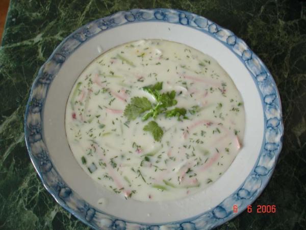 Докторская колбаса, огурцы свежие,отварные яйца, отварной картофель,лук зеленый, кефир 1,5%. Мелко режем зеленый лук, насыпаем его в кастрюлю.Солим и давим его скалкой, чтобы лук дал сок. Желтки яиц мелко трем, остальные ингредиенты режем соломкой. Кефир соединяем с холодной кипяченой водой в соотношении 1:1. Все соединяем, выдавливаем туда сок половины лимона, солим по вкусу. Ставим в холодильник. При подаче можно украсить зеленью.