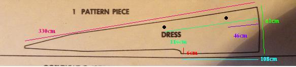 2-й чертеж. Принадлежит Лидии - создательнице платья.Эта выкройка на 39см длиннее, вырез уже на 1,5см(одна половина). Здесь на 6см отстоит от сгиба, на верхнем чертеже - на 7,5см. Точки означают, что нужно прострочить от одной до другой, дальше идет разрез, так как эта задняя часть платья.